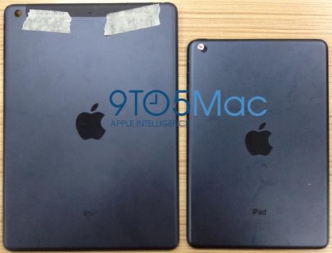 Purported iPad (5th gen.) rear case (left), current iPad mini (right). via 9to5Mac.com